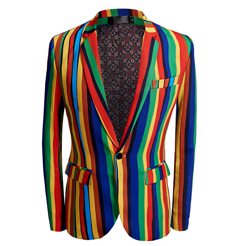 The New 2020 Colorful Stripe Printed Leisure Suit Men's Studio Host Two Flowers Suit