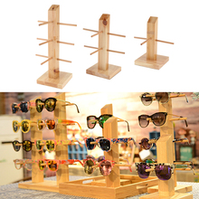 3 Pieces/Set Fashion Retro Solid Wooden Eyeglasses Sunglasses Display Stand with 1/2/3 Layer