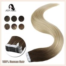 מלא ברק קלטת בתוספות שיער Balayage צבע 100% אדם קלטת על שיער הרחבות 50g 20 Pcs מכונת עשתה רמי