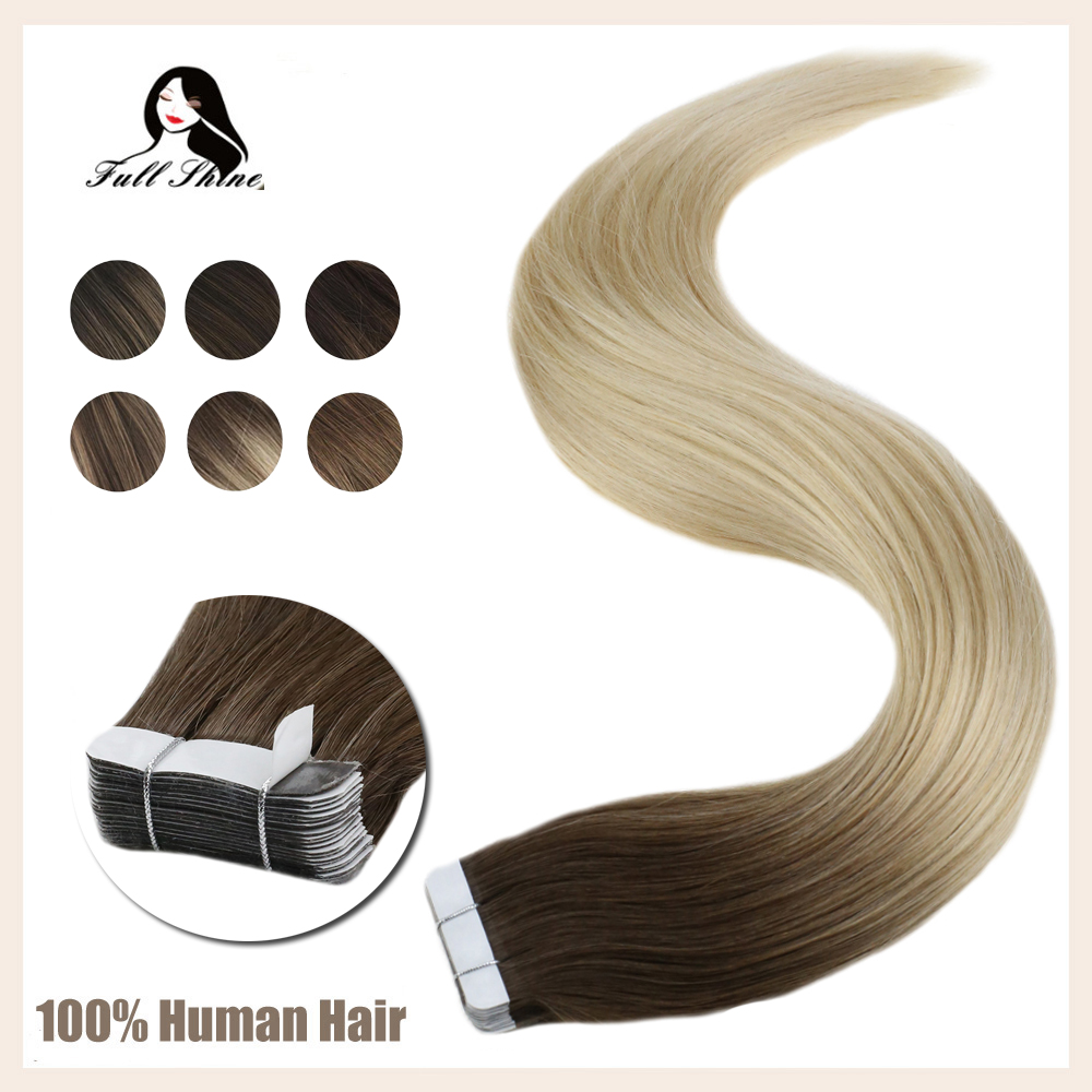 Full Shine Tape In Hair Extensions Balayage Color 100% Human Tape On Hair Extensions 50g 20 Pcs Machine Made Remy