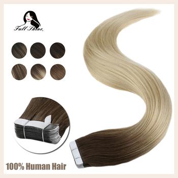 Pełna połysk taśmy w przedłużanie włosów Balayage kolor 100 ludzkie taśmy na przedłużanie włosów 50g 20 sztuk maszyna wykonana remy tanie i dobre opinie Full Shine 2 5 g sztuka TP-Vari Balayage-50g Nie remy włosy Balayage Color Brazilian Hair Straight Darker Color Only 50 Gram