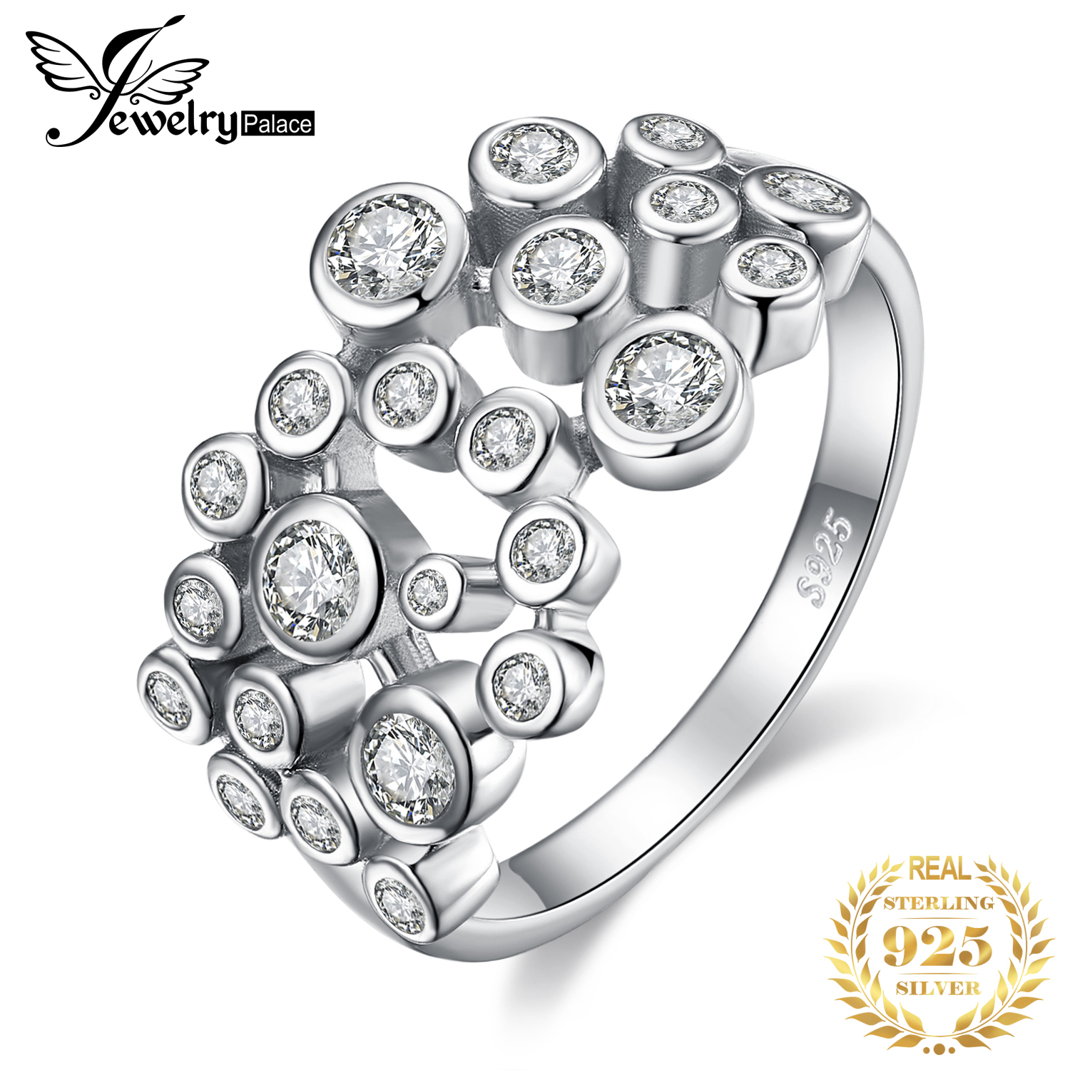 JewelryPalace Huge Cubic Zirconia Rings 925 Sterling Silver Rings For Women Stackable Ring Silver 925 Jewelry Fine Jewelry