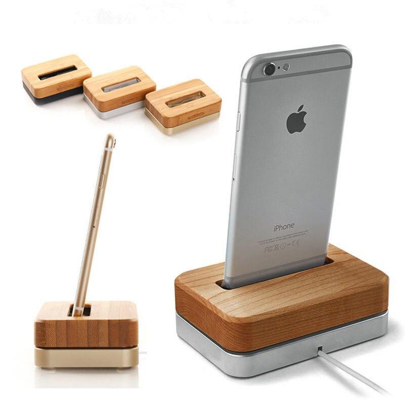 GOOYIYO-Bois Téléphone Support De Charge pour iphone 6 6s 7 8 Plus En Bambou et Métal Dock de Charge Pour iphone X Xs Max Xr