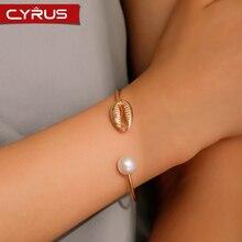 Heißer Verkauf Mode Shell Perle Öffnen Armbänder Für Frauen Einstellbar Armreif Silber Farbe Gold Metall Wilde Weibliche Schmuck Art Reif