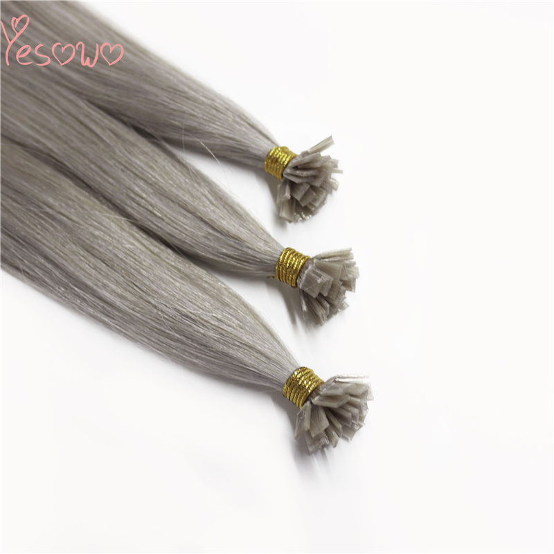 Yesowo High Quality 100% Remy Grey Human Hair Flat Extensions 1g/strand Chinese Hair Pre Bonded Extensions Straight Hair