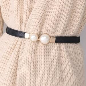 Women Double Pearl Belt PU Leather Dress Skirt Waist Elastic Thin Belts Ladies Waistband