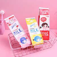 Monedero pequeño con forma de caja de leche de vaca para estudiantes, estuche de almacenamiento de papelería de dibujos animados, organizador de aguacate, bolsa con cremallera, regalo para niños