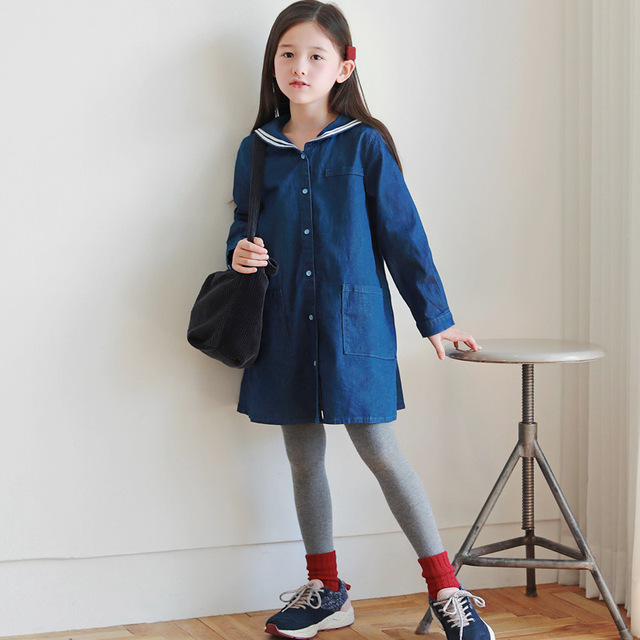 Loose Baby Princess Dress Autumn 2019 Cotton Kids Dresses for Girls Children Jeans Dress Teenager Toddler Clothes Soft,#8001