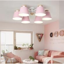 Colorful Wooden Chandelier LED E27 Bedroom Parlor Decoration Ceiling Chandeliers Restaurant Kitchen Hanging Lamp Indoor Lighting