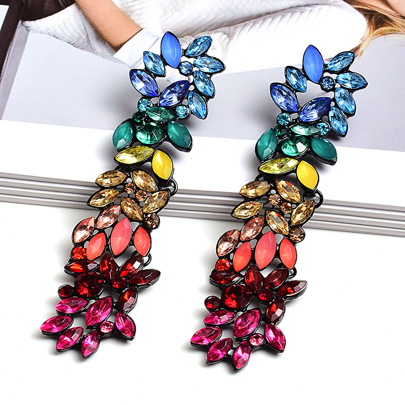 Wholesale Colorful Crystals Long Drop Earrings For Women Fine Jewelry Accessories Dangling Pendientes Bijoux Christmas Gift