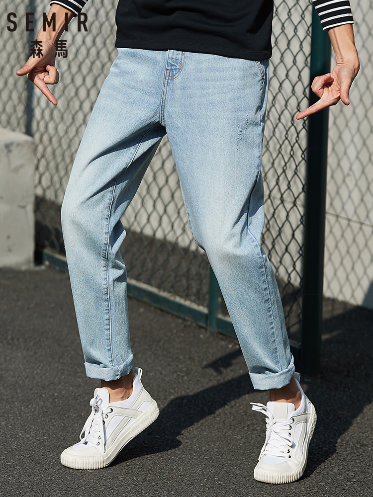 SEMIR Denim Trousers Men 2020 Spring New Loose Tapered Pants Cotton Breathable Youth Retro Old Pants