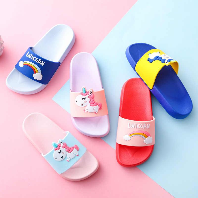 เด็กรองเท้าแตะ Unicorn รองเท้าสำหรับสาวรองเท้าเด็กฤดูร้อนรองเท้าเด็ก 4 สีสายรุ้งรองเท้าแตะเด็กในร่มรองเท้าเด็ก