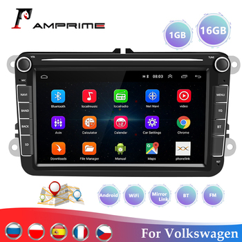 AMPrime Car Multimedia player 7 Android GPS Autoradio 2 Din USB Wifi For Volkswagen/VW/ Passat/POLO/GOLF/Skoda/Seat/Leon Radio image