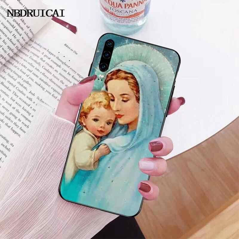 PENGHUWAN meryem hıristiyan noel kapak siyah yumuşak kabuk telefon kılıfı için Huawei onur 20 10 9 8 8x 8c 9x 7c 7a Lite görünüm