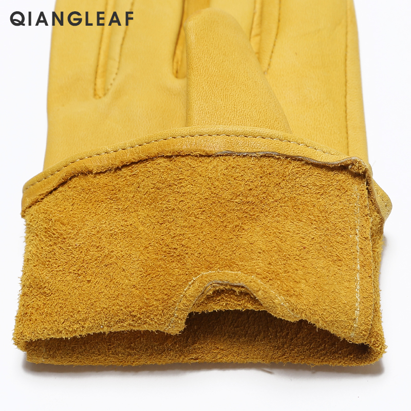 Image 4 - QIANGLEAF Brand New Yellow Work Drivers Gloves Gardening Household Work Cowhide Leather Safety Working Glove Men&Women 130NP-in Safety Gloves from Security & Protection