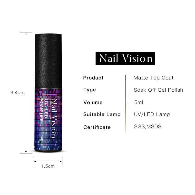 Uñas visión mate capa superior esmalte de uñas de Gel uv 5ml Gel de larga duración Color transparente mate parte superior Semi permanente pintura de Gel de uñas