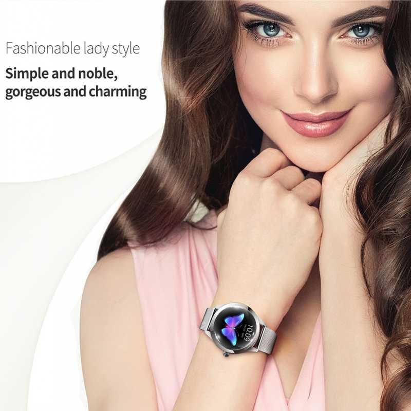 KW10 kobiety smart watch IP68 Monitor pracy serca wiadomość połączeń przypomnienie krokomierz kalorii Smartwatch kobiety zegarek dla androida i IOS
