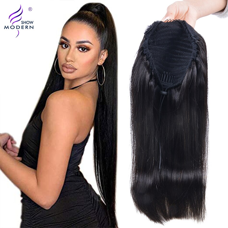 Modern Show Brazilian Hair Straight Drawstring Ponytail Human Hair Non-Remy #4 Color Ponytail Extensions T/1B /427 Ombre Color