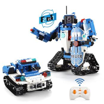 Kuulee Remote Control Robot Police Car Building Block Boy Toy Set