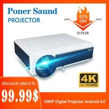 Poner саунд 96 воспользовались сверхнизкой ценой проектор Full HD мини 4k WiFi 3D Видео Android 6,0 дома Кино 1080P цифровой проектор