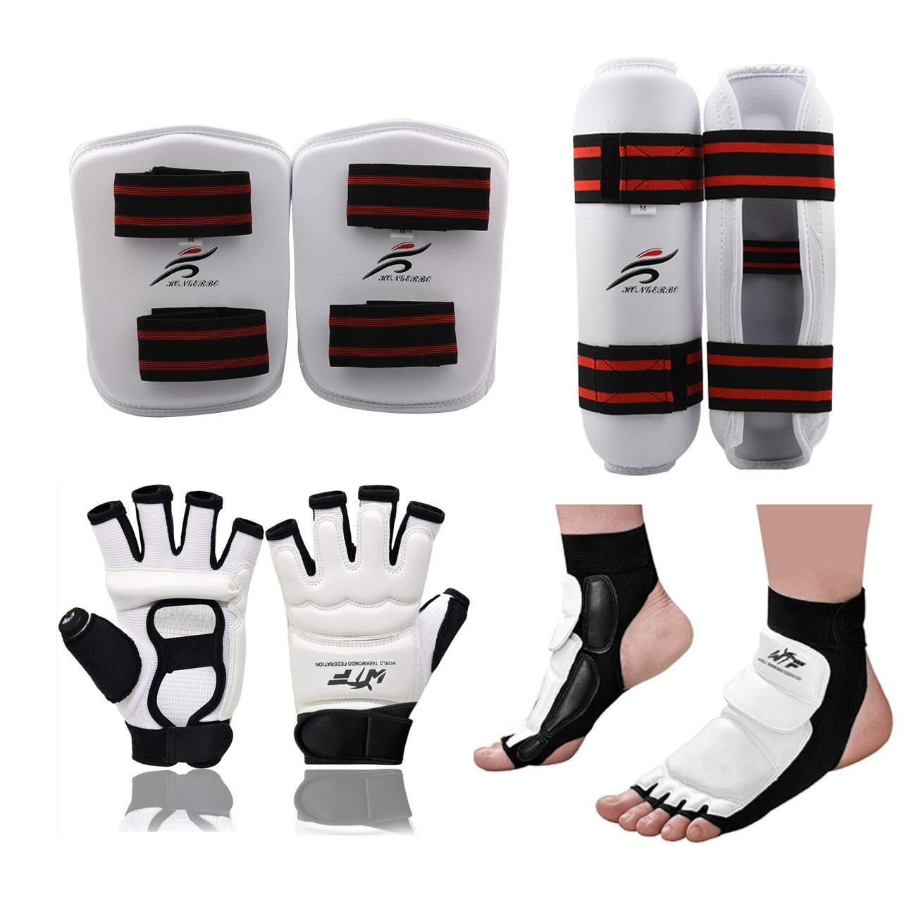 Adultes enfants gants de karaté Taekwondo uniforme jambières protège-main professionnel protège-tibia hommes combat boxe MMA équipement