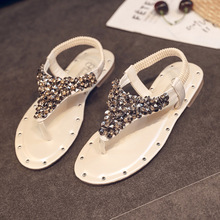 Women's Flip-flop Sandals 2019 New Summer Korean Flat-bottomed Sandals Women's Fashion Bright Diamond Beach Sandals sandals 2016 new famous brand buckle womens flip flop sandals summer beach sandals af327