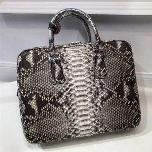 Мужской деловой портфель из натуральной кожи питона, большой мужской кошелек из натуральной змеиной кожи с ручками сверху