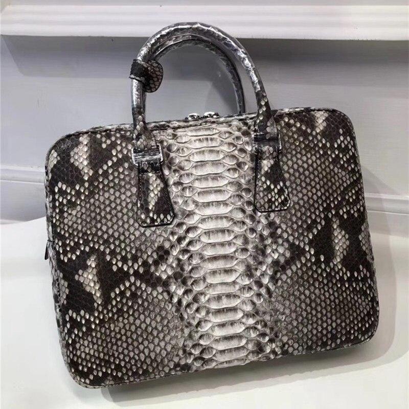 Genuine Python Leather Businessmen Laptop Briefcase Man Large Purse Authentic Real Snakeskin Male Top-handle Handbag