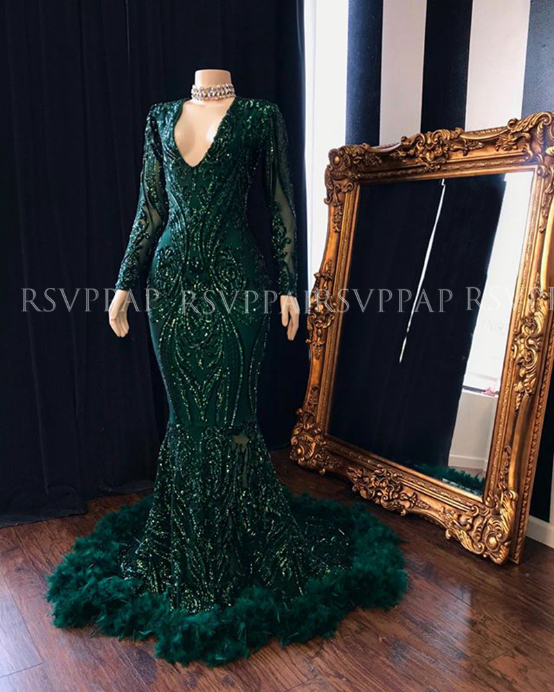 Long Elegant Prom Dresses 2020 Mermaid V-neck Long Sleeve Emerald Green Sequin African Black Girl Feather Prom Dress