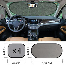 Car Sun Shade Curtain UV Protection Auto Front Rear Window Mesh 5PCS 100x50cm Vehicle Windshield Block Cover with 10 Suction Cup