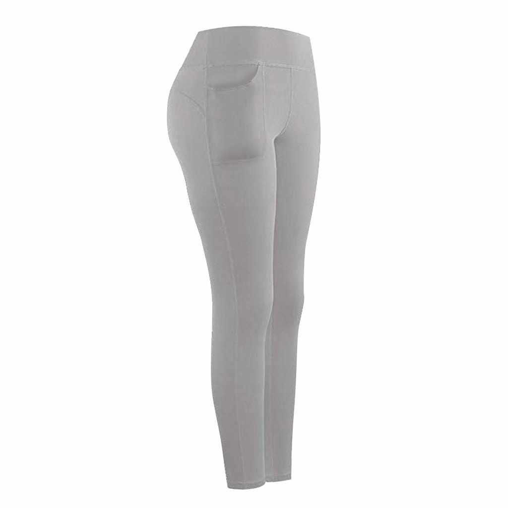 Leggings do esporte das mulheres de fitness cintura alta estiramento atlético ginásio leggings casuais correndo esportes bolsos calças ativas para o telefone celular