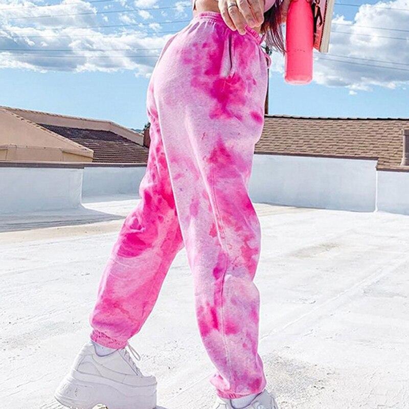 Pink Tie Dye Printed Sweatpants Women Casual Loose Long Trousers Elastic High Waist Pants Capris Joggers Streetwear