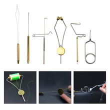 6pcs/set fly tying tools kit bobbin threader bobbin holder rotary whip finisher for fly fishing equipment combo