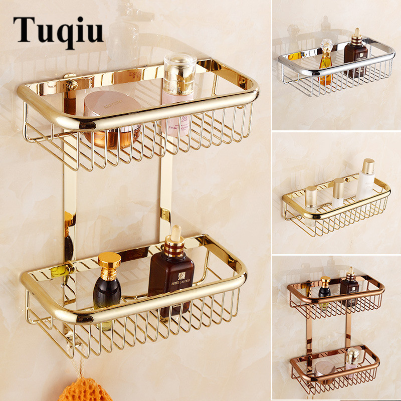 Tuqiu Gold Bathroom Corner Shelf Soap Holder Dual Tier Bathroom Shelves Brass Bathroom Shampoo Holder Basket Bathroom Holder