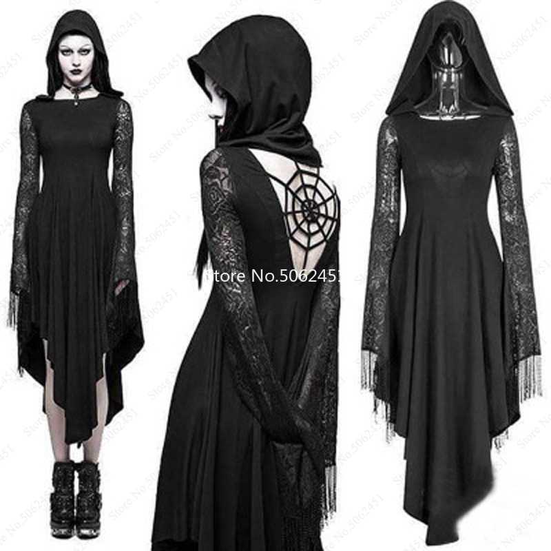 BOIYI Evening Party Dresses for Witch Evil Queen Black Ghost Brid Long Vampire Hooded Cloak Dress for Halloween Cosplay Costume