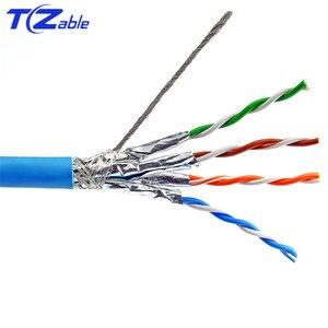 Cat6a Ethernet кабель S/FTP установка двойной щит твердая медь AWG23 0,57 мм LSZH (поддерживает FTTH) 10G сетевой провод синий 7,5 мм