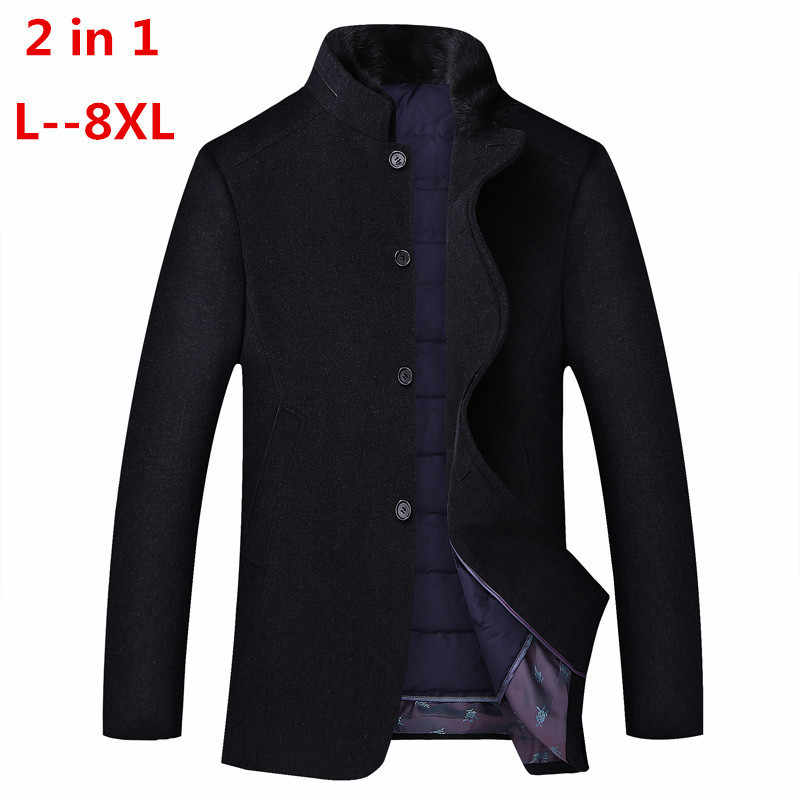 8XL 6XL 2 in 1 Winter Männer Casual Wolle Graben Mantel Mode Business Lange Verdicken Schlank Mantel Jacke Männlichen Peacoat marke Kleidung