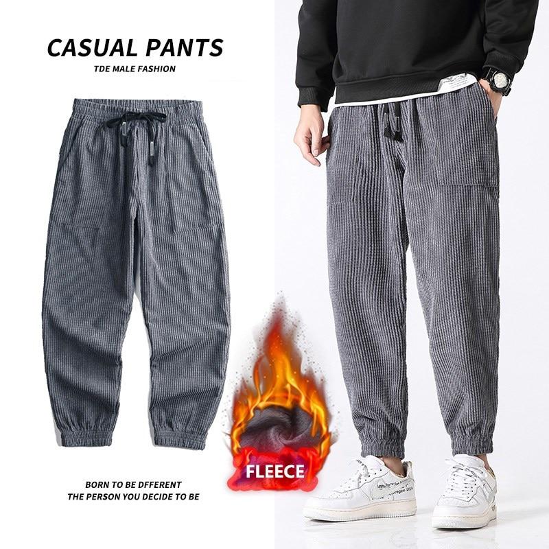 Lã de inverno quente japonês streetwear veludo preto calças dos homens 2021 novo engrossar elástico da cintura dos homens casuais baggy harem calças