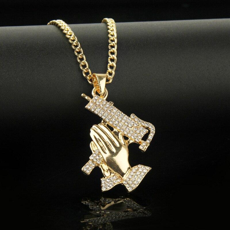 2019 New Arrival Hip hop AK47 Gun Broken Heart Punk Style Pendent Necklace Crystal CZ Alloy Gold Chain Unisex Men Women