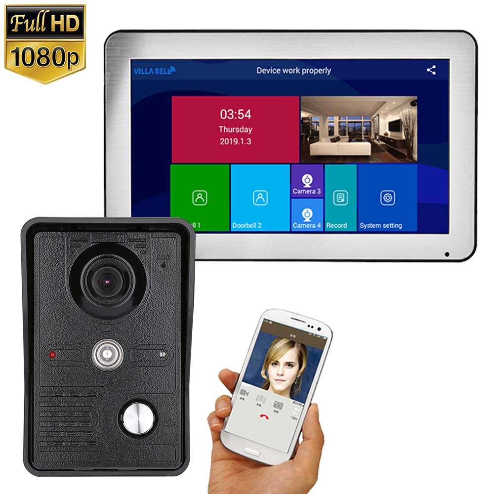 10 Inch Wireless Wifi Video Doorbell Intercom 1080P Phone Call Door Bell Camera Infrared Remote Record Home Security Monitoring