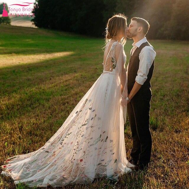 Meticlously vestidos De boda bordados vestidos De novia bohemios De ensueño con espalda descubierta Vestido De novia Chic Abiti da Sposa ZW205