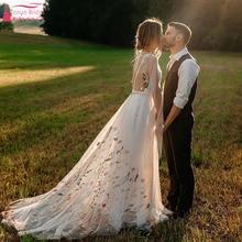 Vestido de noiva meticamente bordado, boêmio, vestido de noiva frente única, chique, abiti da sposa zw205