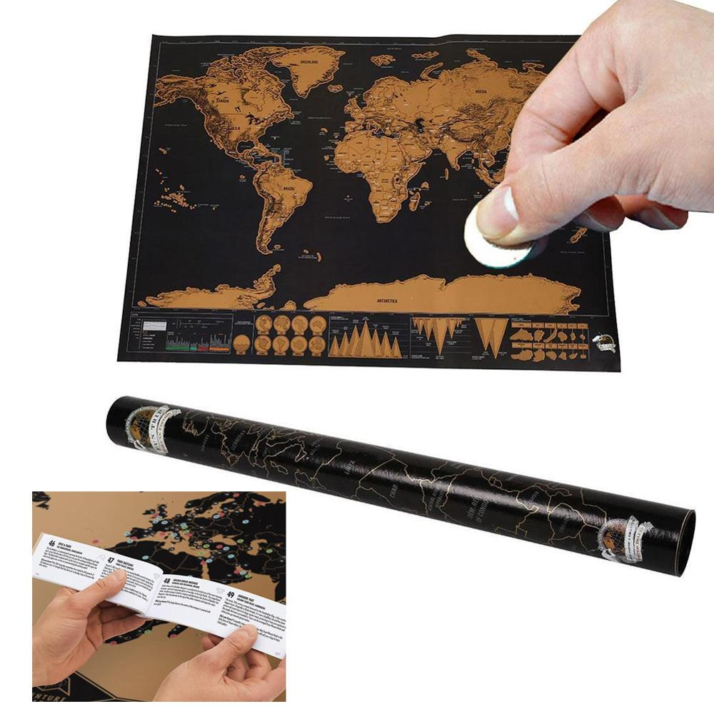Deluxe Erase World Scratch Map 82.5x59.5cm Room Home Office Decoration Log Big Size Wall Stickers