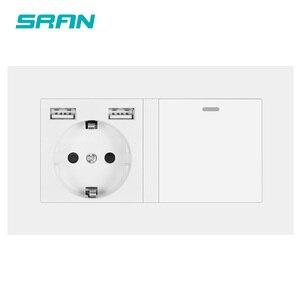Image 1 - SRAN enchufe europeo con interruptor basculante, toma de corriente de pared 220v 16A con Panel de Pc Usb 146*86 con interruptor de luz, 1 entrada y 1/2 vías de salida