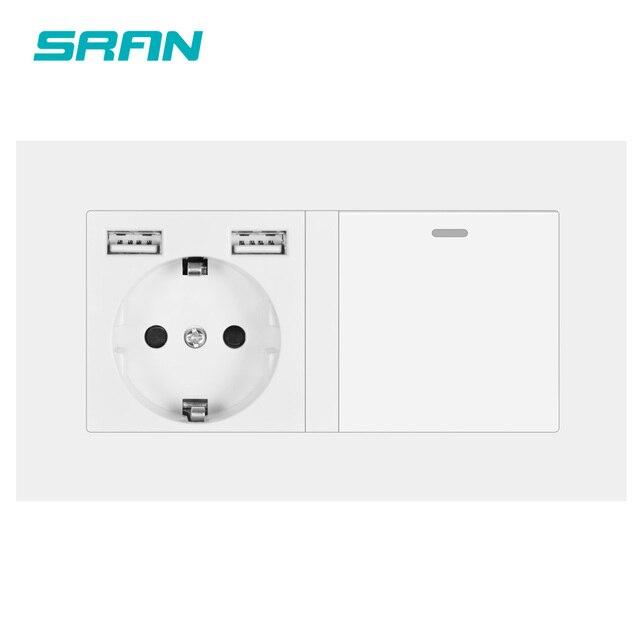 SRAN enchufe europeo con interruptor basculante, toma de corriente de pared 220v 16A con Panel de Pc Usb 146*86 con interruptor de luz, 1 entrada y 1/2 vías de salida