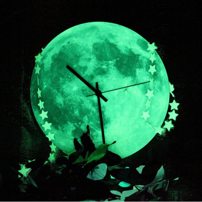 30cm Creative Glowing Moon Wall Clock Waterproof PVC Acrylic Luminous Hanging Clock Moon Clock Home Living Room Bedroom D