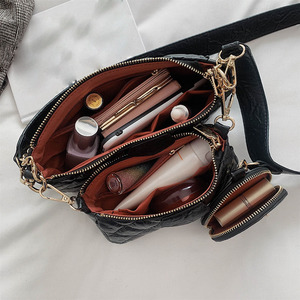 Image 5 - Сумка тоут женская из мягкой кожи, роскошный комплект из 3 предметов, винтажный кошелек на плечо и сумочка мессенджер на цепочке, клатч