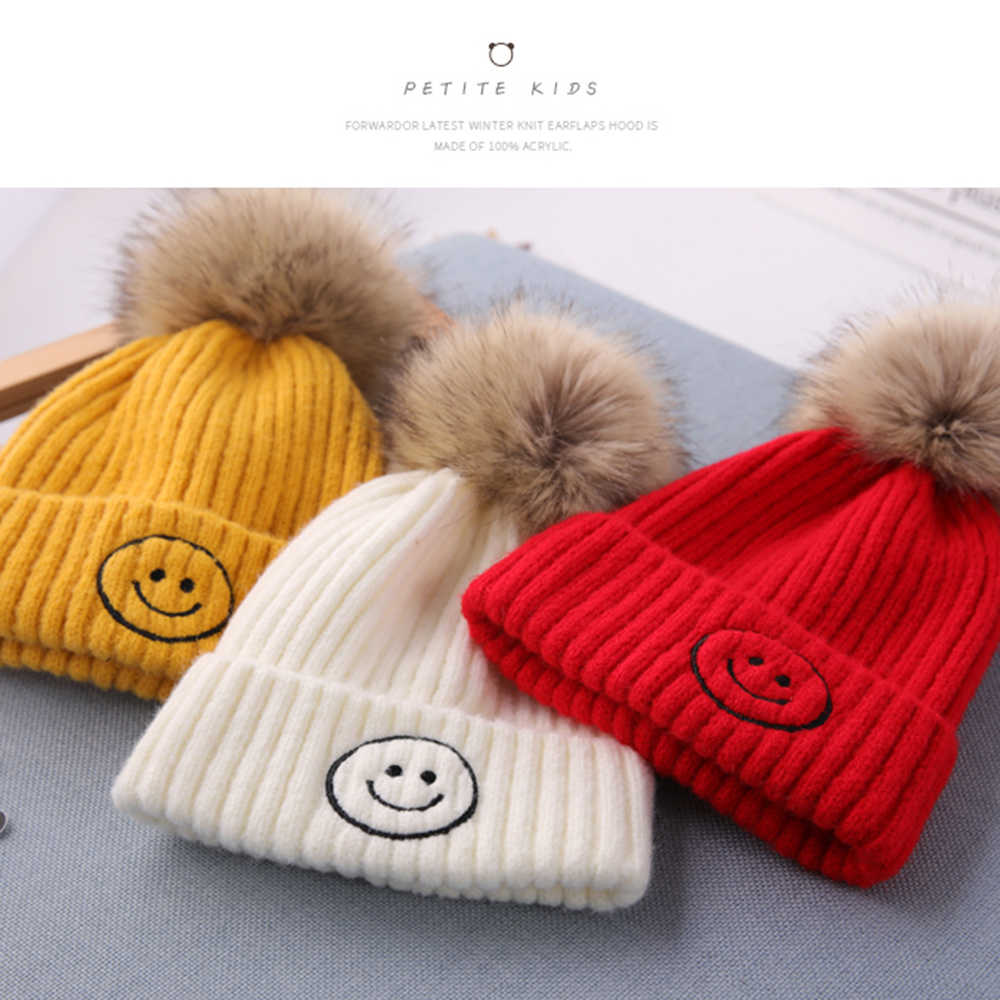 소년을위한 어린이 겨울 모자 소녀 니트 양모 어린이 스마일 모자 아기 모자 풀오버 모자 뜨거운 판매 스타일 비니