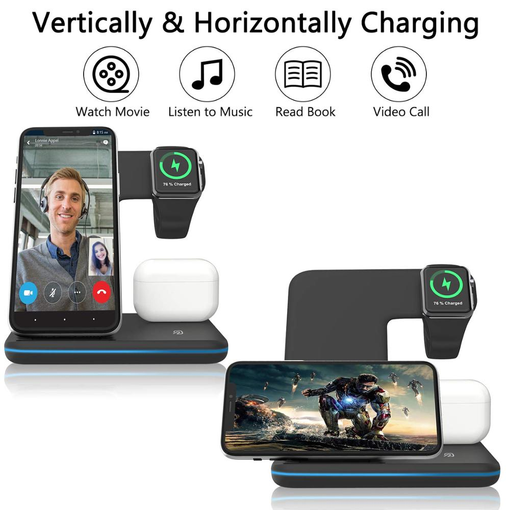 Wireless Charger Stand 3 in 1 Qi 15W Fast Charging Dock Station for Apple Watch iWatch