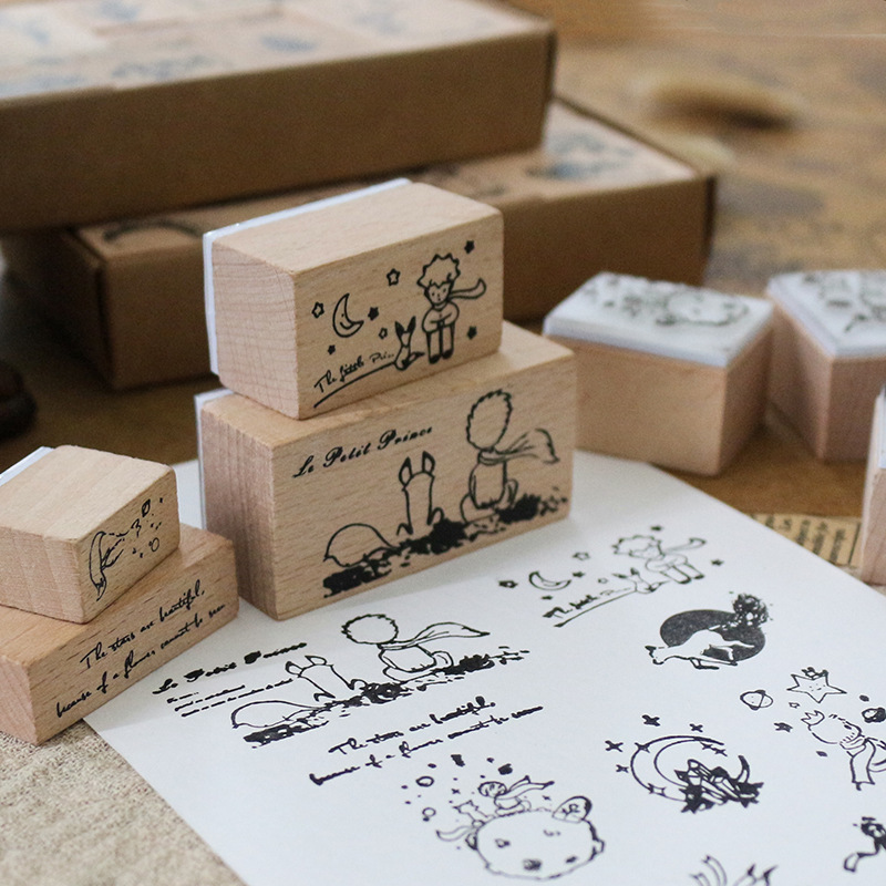 12PCS A Box Prince And Flowers Theme Wooden Stamps Set DIY Sticker Journal Diary Decoration Supplies